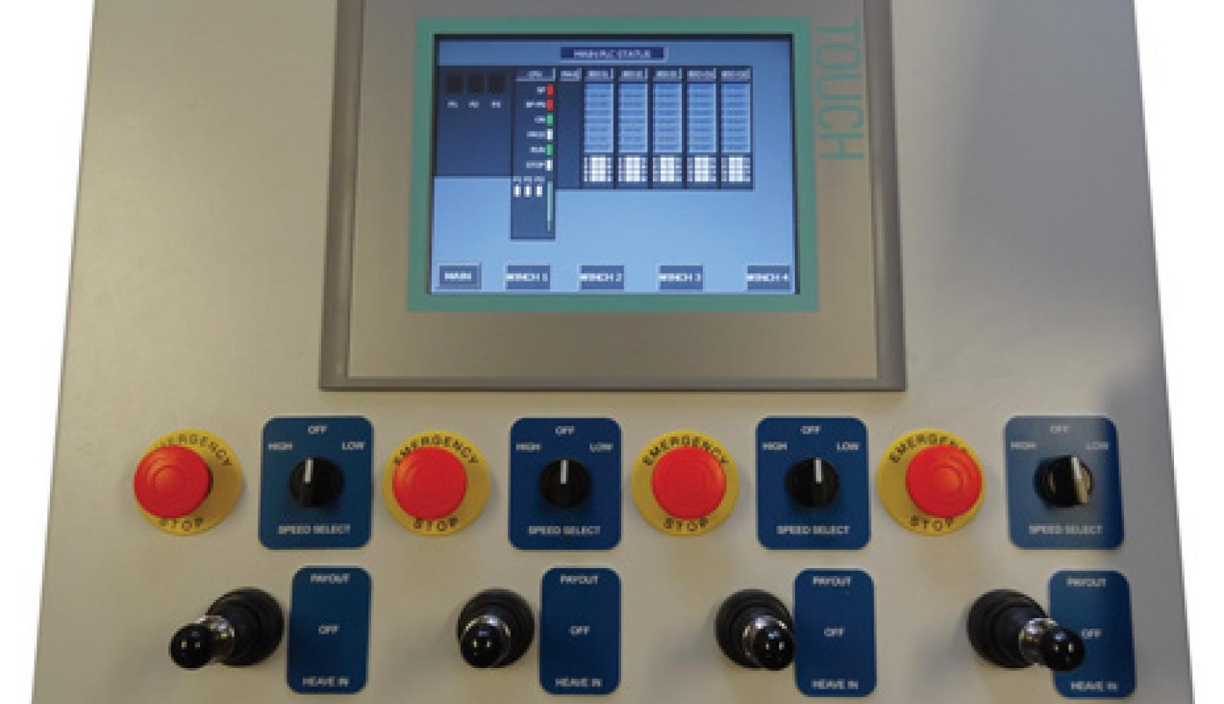 Jack-up Mooring Winch Control Console, payout display, custom