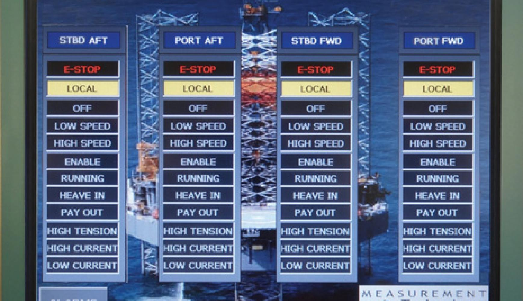 PLC HMI Controls, tension monitoring, mooring monitoring